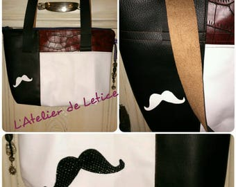 faux leather bag red black and white