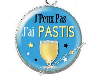 Resin cabochon pendant I can't I pastis
