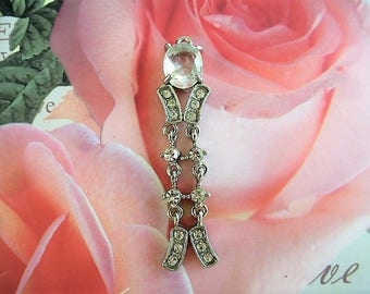 vintage charm 6 cm pendant articulated into 3 parts for designs silver and rhinestone