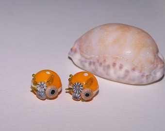 "1 pair ""Lemon"" glass Lampwork Glass"