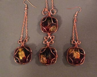 Copper necklace and earrings