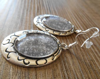 Silver speckled grey cabochon earrings