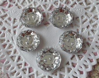 Buttons round rhinestone 2.00 x (5) Acrylic 2 holes