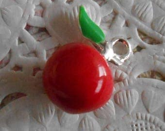 Leaf charm and small red Apple silver-plated enameled red and green 1.90 cm tall