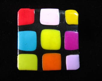 Square checkered pop black/multicolor polymer clay - ring size 25mmx25mm squares