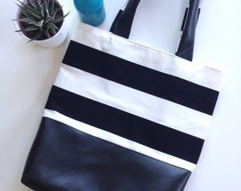Bag / Tote black and white striped