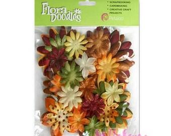 "Wholesale lot of 50 flowers fabric tones autumn ""petaloo"" scrap.* embellishment"