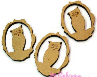 Set of 3 owls wood blank scrapbooking card making (ref.710) *.