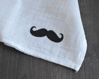 Swaddle with mustache pattern - Muslin swaddle for baby - Mustache design