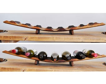 Barrel Stave Wine Rack, 7-bottle, Red Side Up