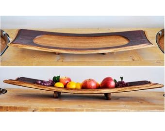 Barrel Stave Tray. Made from retired oak wine barrel