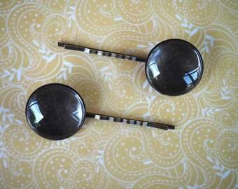 Bronze deLOT 2 Barrettes hair clip set, with 25 mm + 2 cabochons 25mm glass cabochon