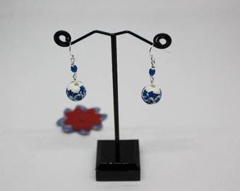 Earrings: lovely flowering (blue) ceramic beads