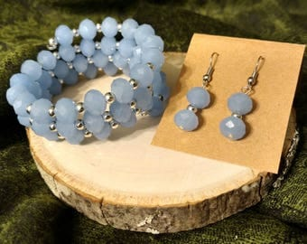 Light Periwinkle Blue and Silver Beaded Bracelet and Matching Earring Set