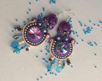 EARRINGS with swarovski crystal in the Center and SOUTACHE POURPRE-Pearl pendants and briolettes