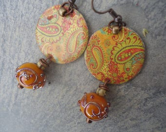 Oriental earrings - copper enameled, spun glass bead, Czech glass - Orange, arabesques...