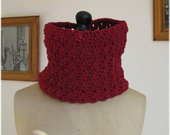 Burgundy Snood crocheted decorative stitches