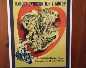 Vintage Harley Davidson O.H.V. Motorcycle Poster