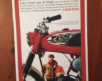 Vintage Honda motorcycle reproduction poster