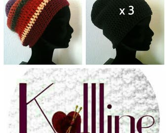 "Set ""family"" 3 crochet hats"