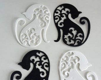 Thin cardboard, set of 4 cats, black and white embellishment