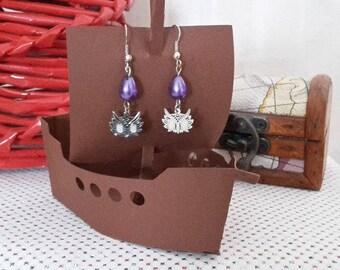 Drop Earrings purple and silver OWL head