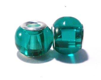 2 beads European glass green charm's (17)