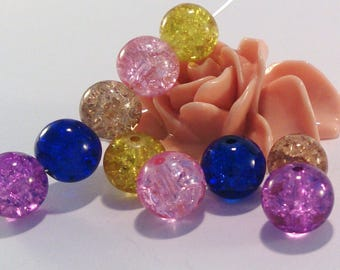 10 pearls glass Crackle, multicolor, 10 mm, (84F)