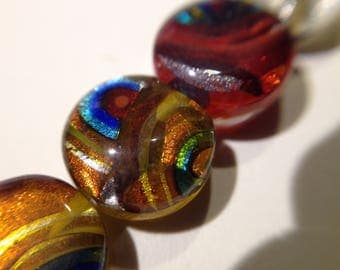 136 / lot 4 round lampwork beads mix assorted multicolored millefiori glass silver foil craft donut ~ 10 mm