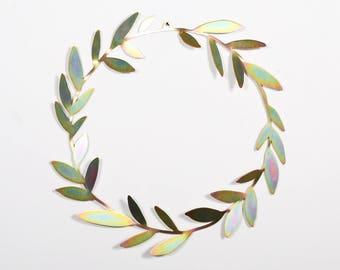 Metal modern wreath, Scandinavian wreath, minimalist wreath, living room decor, bedroom decor, gold crown, gift for her, laser cut wall art