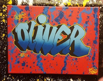 Hand Painted Graffiti Canvases In Any Name and any colours