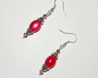Olive rose dangle earrings