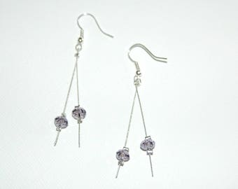 Twisted wire and purple beads dangling earrings