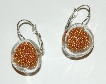 Earrings bubbles of glass - copper microbeads Inclusion