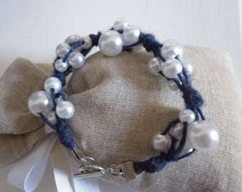 Bracelet linen blue and white pearls fantasies