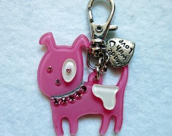 Pink/white dog keychain