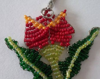 Red Tulip flower keychain