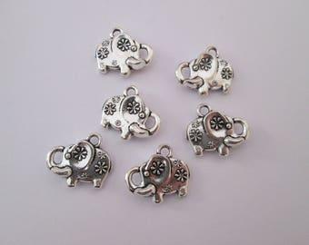 6 breloque éléphant 15 x 13 mm en métal argenté