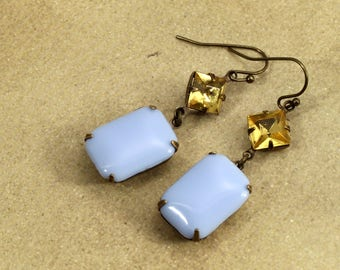 Citrine yellow and periwinkle blue dangle earrings