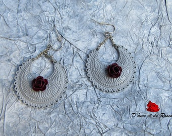 Earrings 4 grey and pink and plum