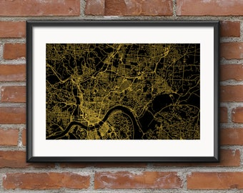 Cincinnati Map Art Print –Golden // Cincinnati Poster | Cincinnati Art | Cincinnati Print // Free Shipping