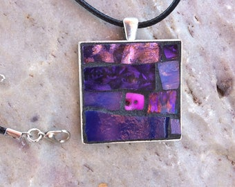 Purple Mosaic Pendant/Mosaic Jewelry/Stained Glass Necklace/Purple Pink Pendant/Wearable Art/Gift for Her Under 30/Mosaic Gift