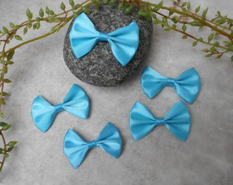5 knots with satin - turquoise - 5.20 cm / 3.6 cm