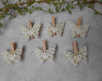 6 pins ivory felt Butterfly