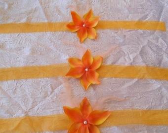 "Orange flower ""wedding procession"" Ribbon necklace"