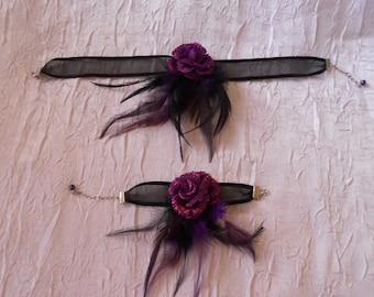 Ribbon flower purple feathers set black / purple