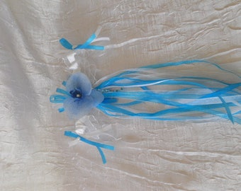 White turquoise wedding garter