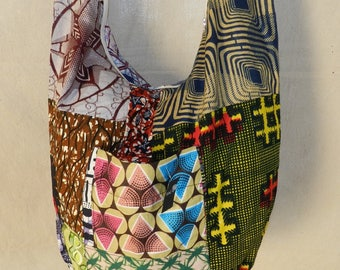 Shoulder Ref: 210 SbL African wax fabric with zip closure and 3 pockets