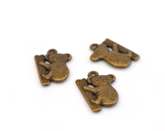 3 koalas antique bronze charms