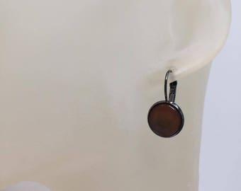 Earrings cabochon Brown